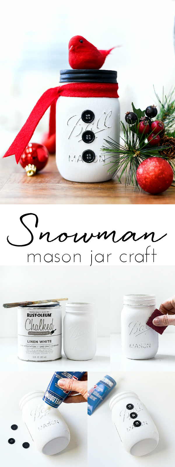Snowman Mason Jars - Mason Jar Crafts Love #masonjarcrafts