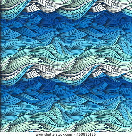 Abstract Water Pattern Hand Drawn Waves Vector Blue Wave