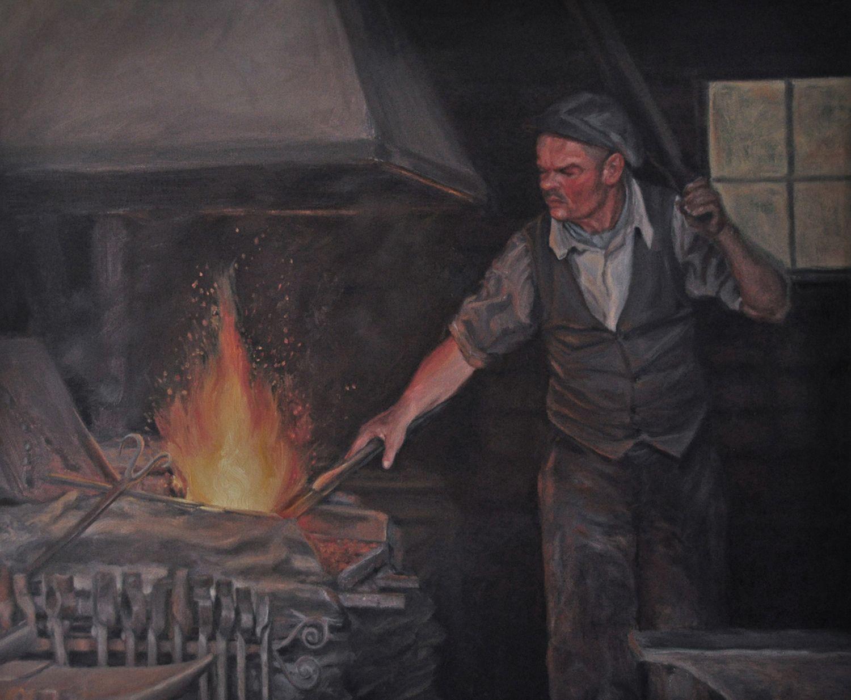 "Barkerville Blacksmith   20"" x 24"" oil on canvas,  $1200.00  Copyright, Tahirih Goffic, 2011"