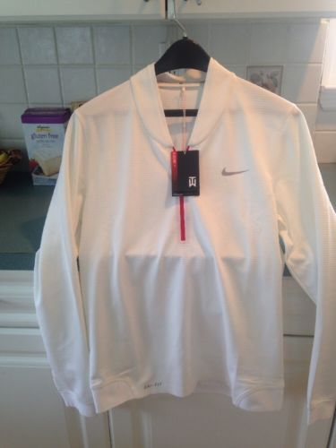 Nike Tiger Woods Collection Men's White Long Sleeve Golf Shirt Small NWT
