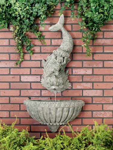 Charmant Outdoor Animal Wall Mounted Fountain: Ladybug/CPI: Dolphin With Cherub 2 Pc