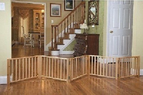Wood Folding Dog Gate Portable Retractable Pet Fence Indoor Free