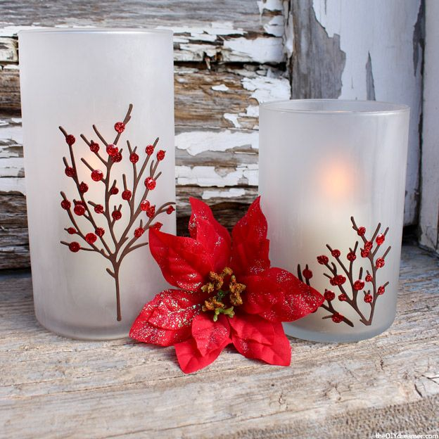 Etched candle holders perfect for christmas for Martha stewart christmas wine glasses