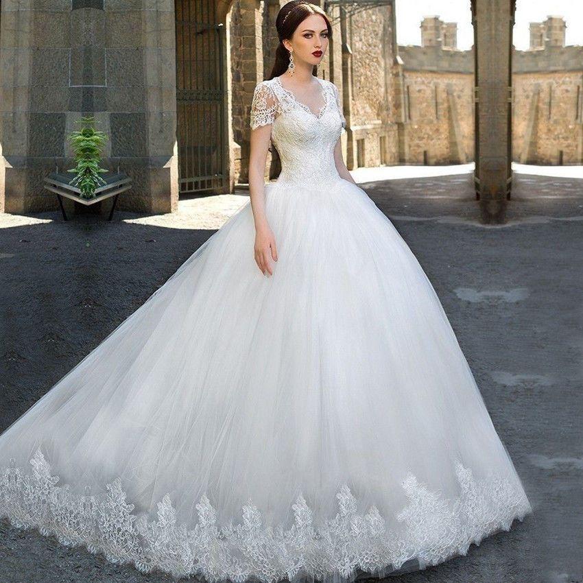 White/Ivory V Neck Lace Wedding Dress Short Sleeve Bridal