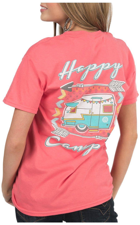 Girlie Girl Originals Women's Coral Happy Camper Short Sleeve Tee | Cavender's