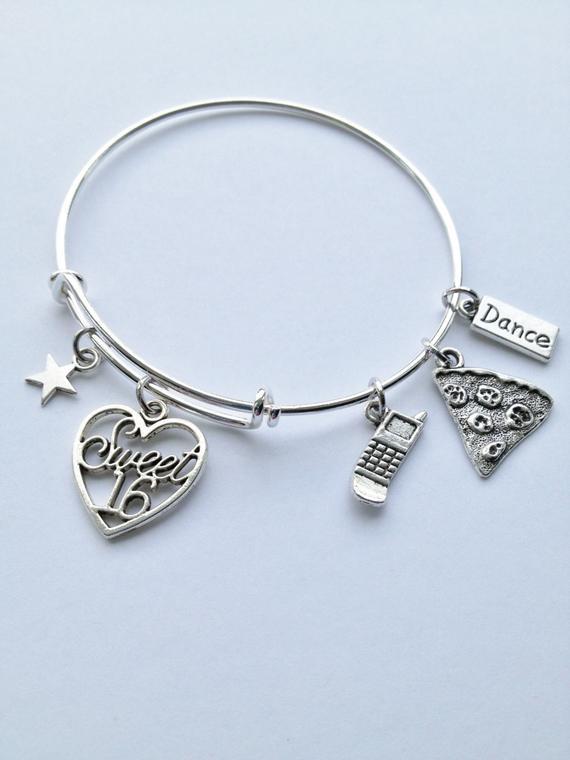 f3cc51aab Sweet 16 Theme Adjustable Bangle, Stainless Steel, Charm Bracelet, Gift for  Her, Women's Bracelet, T