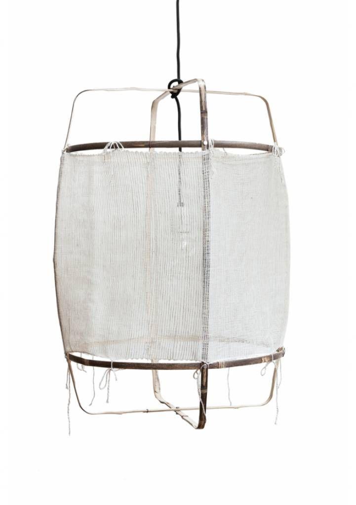 lampe suspension bambou soie cachemire z11 blanc 48. Black Bedroom Furniture Sets. Home Design Ideas