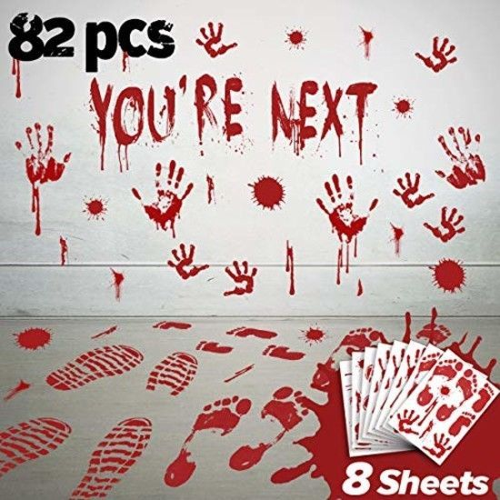 Halloween Window Decals Wall Stickers Decor Bloody Handprint Footprint Horror B Pawliss