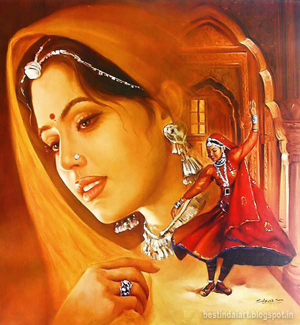 Indian Art Woman Potrait Indian Paintings Indian Art Indian Painting