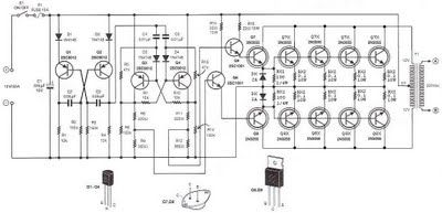 500 watt inverter 12vdc to 220vac - schematic | circuit