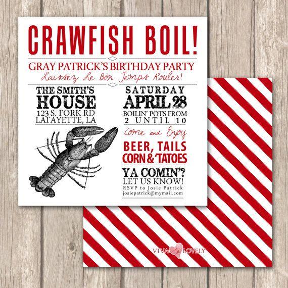 Cajun Crawfish Boil Invitations--Unique Crawfish Boil ...