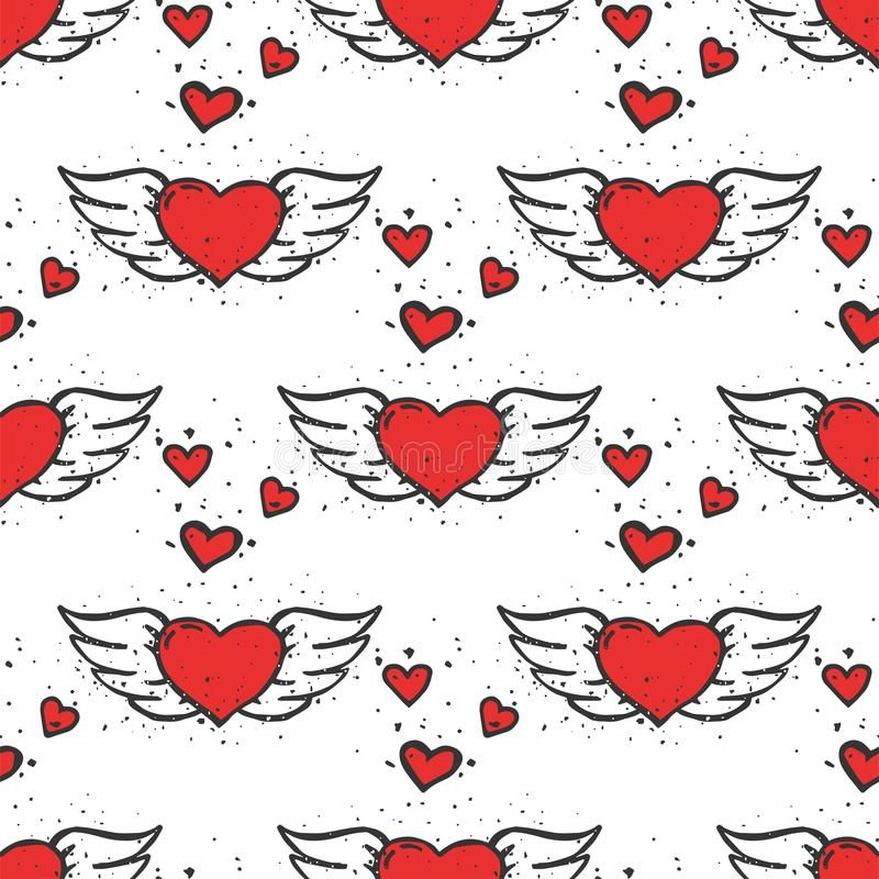 Simple Red Heart Sharp Vector Seamless Pattern Background Color