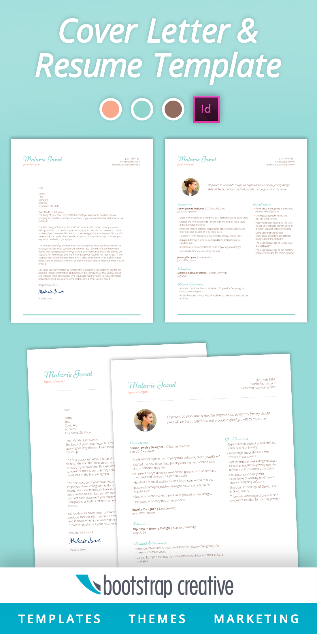 InDesign Resume Template - teal chevron pattern with feminine look ...