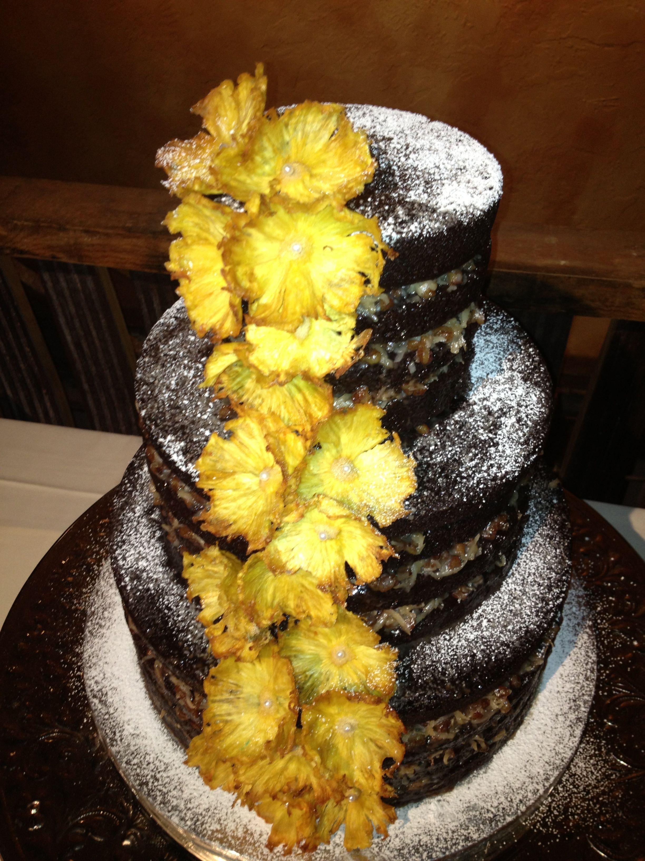 100% Vegan German Chocolate wedding cake with Pineapple flowers ...