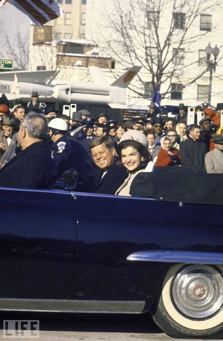John and Jackie in the inaugural parade down Pennsylvania Ave 1-20-1961