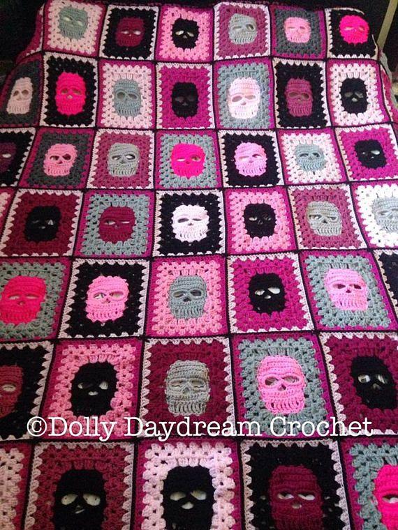 Double bed skull blanket, full size, crochet skull, crochet blanket ...