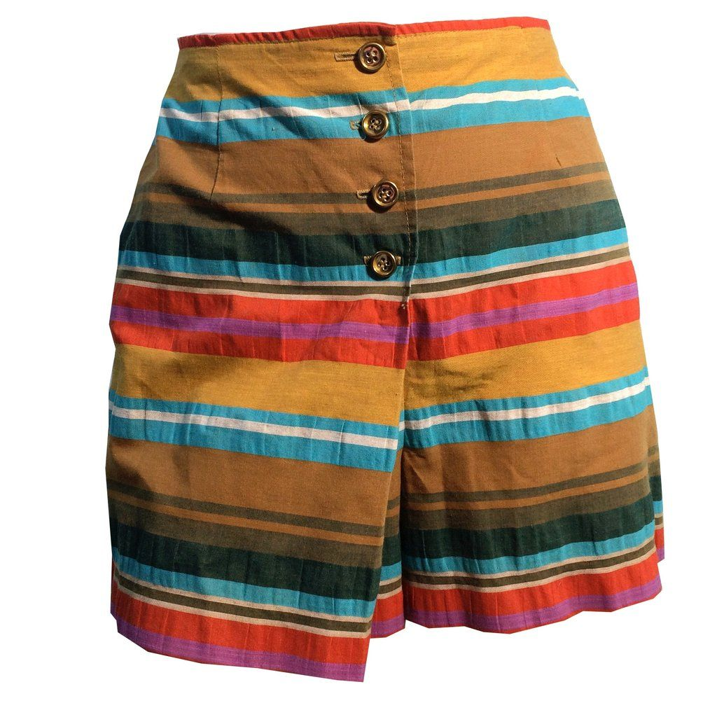 Summer Stripes Cotton Skort Shorts circa 1960s