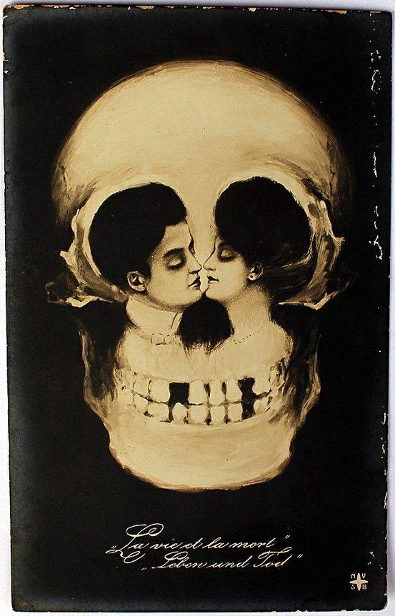antique skull optical illusion postcard til death do us part wedding tattoo