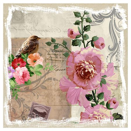Found it at Wayfair - Revealed Artwork Sparrow & Hollyhocks Canvas Art