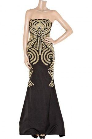 Black Gold Marchesa Art Deco Formal Gown My Style Pinterest