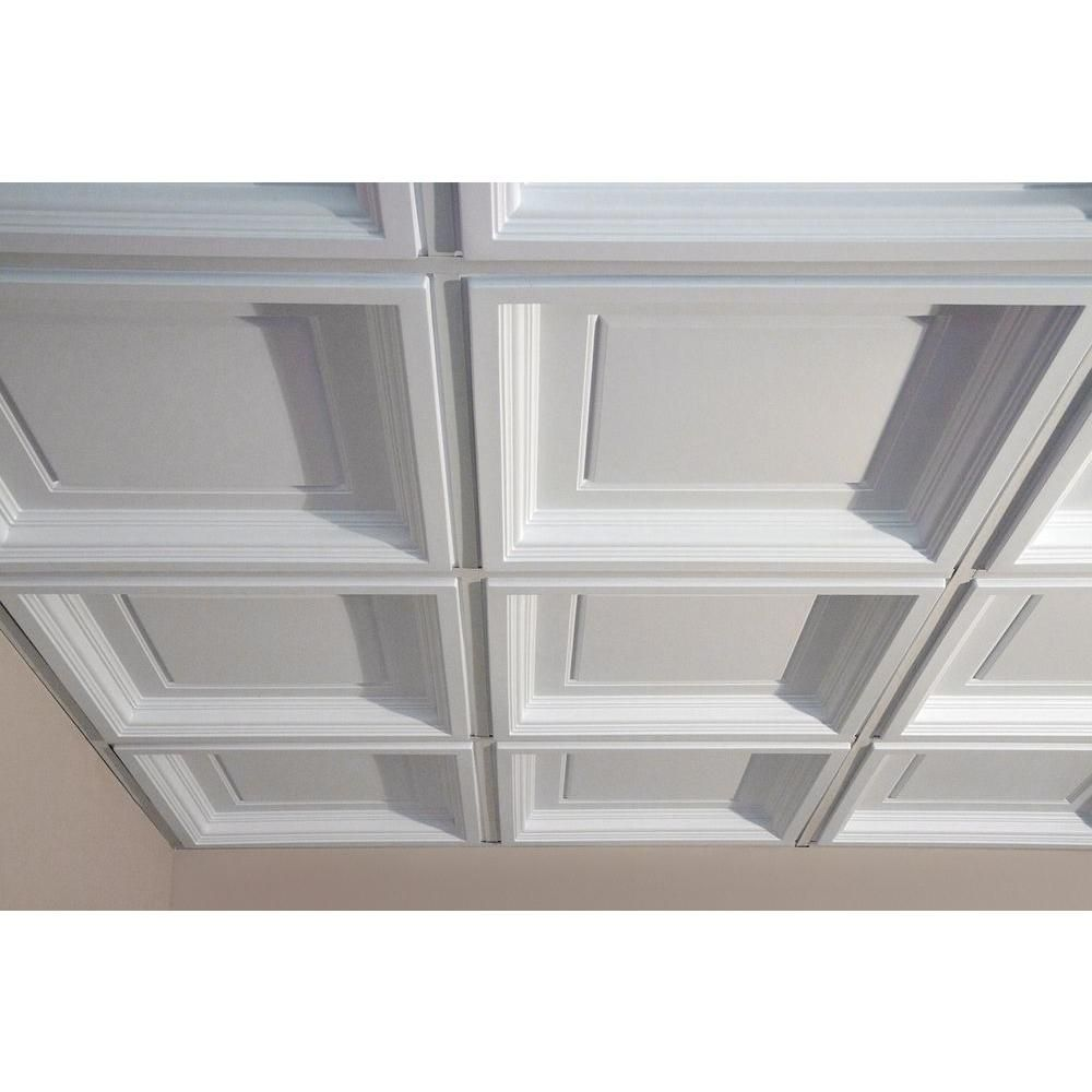 Ceilume Madison White 2 Ft X 2 Ft Lay In Coffered Ceiling Panel
