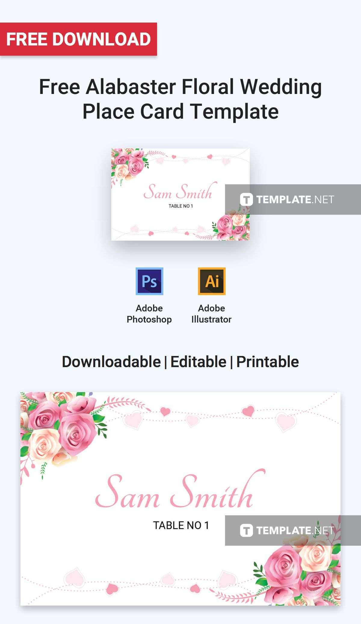 Free Alabaster Floral Wedding Place Card Template Word Doc Psd Apple Mac Pages Illustrator Publisher Place Card Template Wedding Place Cards Wedding Place Card Templates