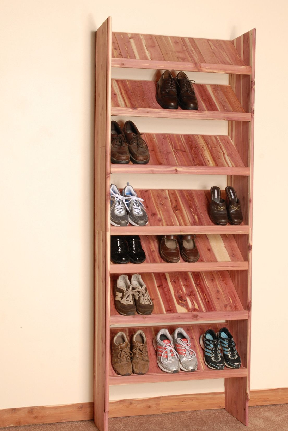 Deluxe solid shoe cubby closet organizer wood closet