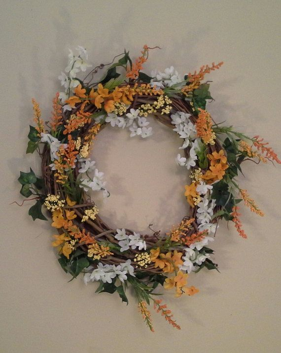 Orange And White Grapevine Wreath 14 Inches by NanewsCreations. Sold!
