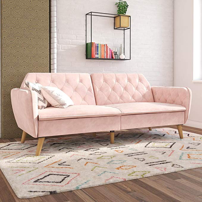 Amazon Com Novogratz Tallulah Memory Foam Futon Gray Velvet Kitchen Dining In 2020 Vintage Velvet Sofa Couch Alternatives Fun Living Room Furniture