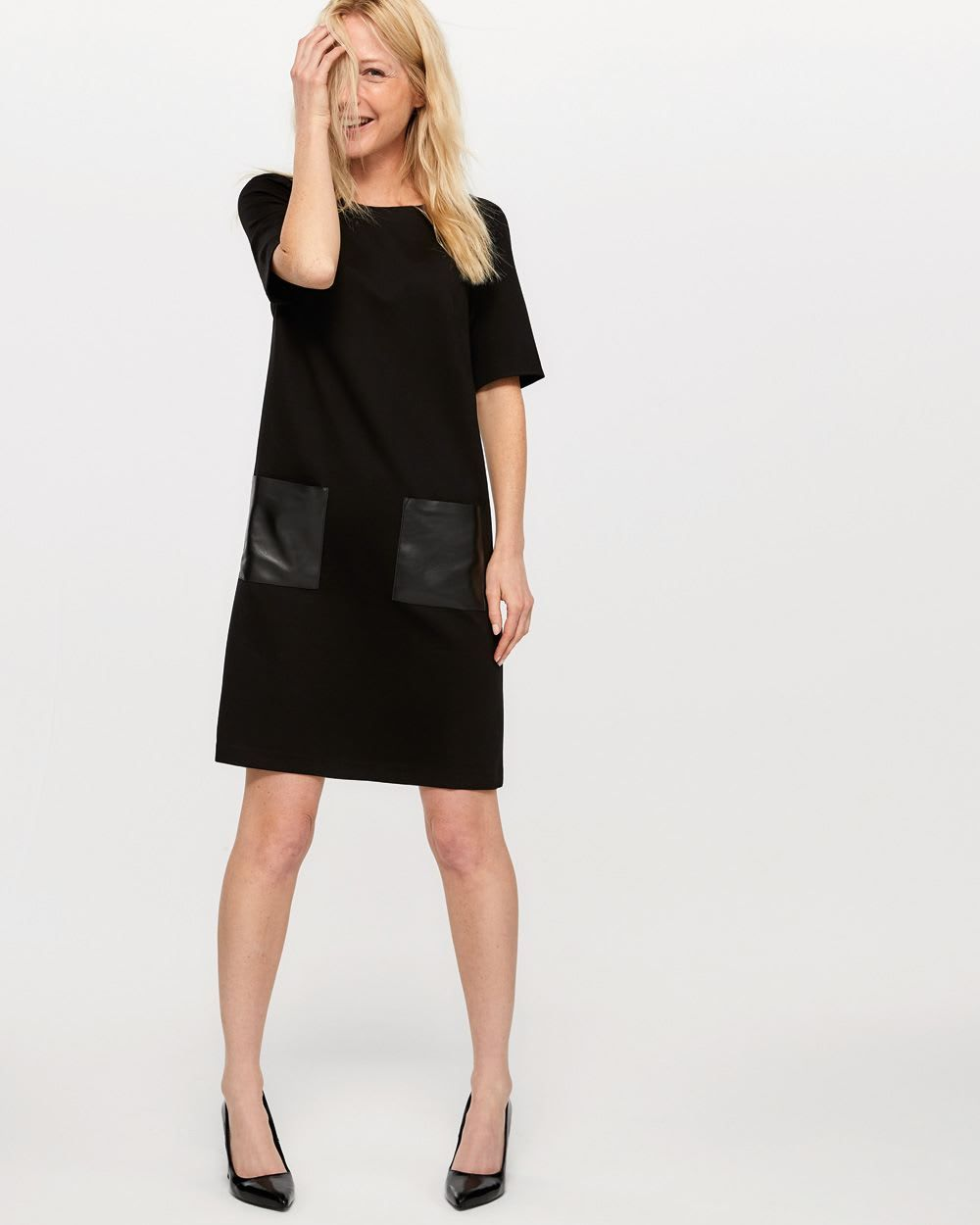 251c9b9dcdafb Shop online for Faux Leather Pocket Swing Dress. Find Dresses, Shop All and  more at Reitmans