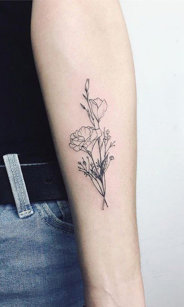 Photo of Simple Black Wild Rose Kleine Unterarm- Tattoo-Ideen für Frauen – nette kleine Ideen Unterarm