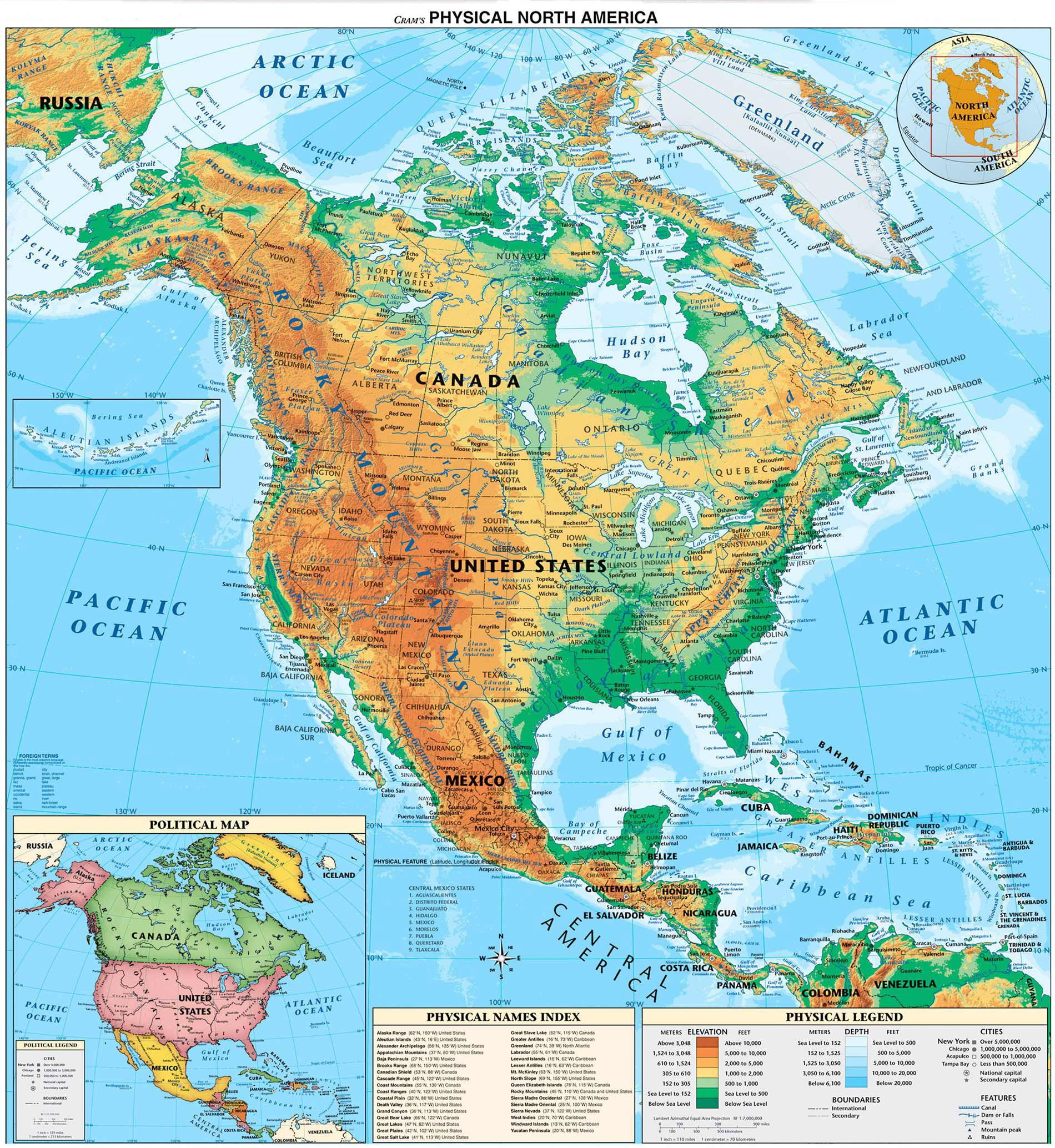 Usa Canada Physical Map Physical map of Canada and USA | North america map, America map