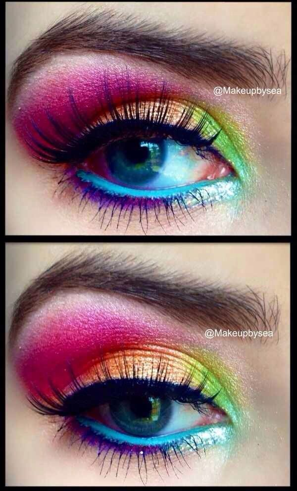 Multicolores Beau Maquillage, Maquillage Bonbons, Maquillage Annee 80,  Maquillage Licorne, Maquillage Regards