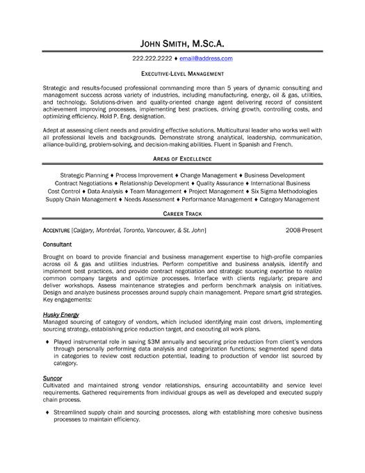a resume template for an executive