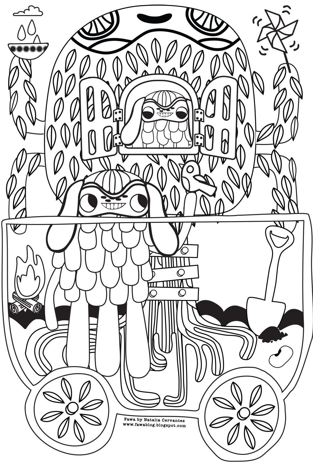 Colouring page by natalia cervantes draws pinterest artwork