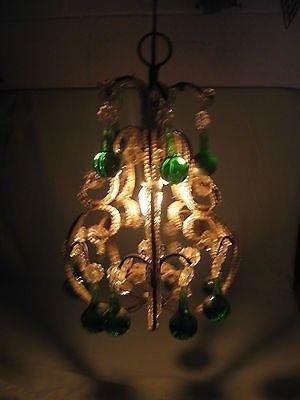 Vintage Italian Chandelier Hanging Light Emerald Green Crystal