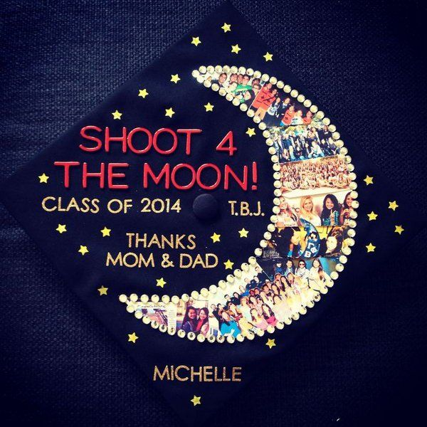 Shoot the Moon Graduation Cap. Design the graduation cap board in a special way to make your cap stand out from the rest by putting every semester of collage images together into a moon shape. http://hative.com/graduation-cap-ideas/