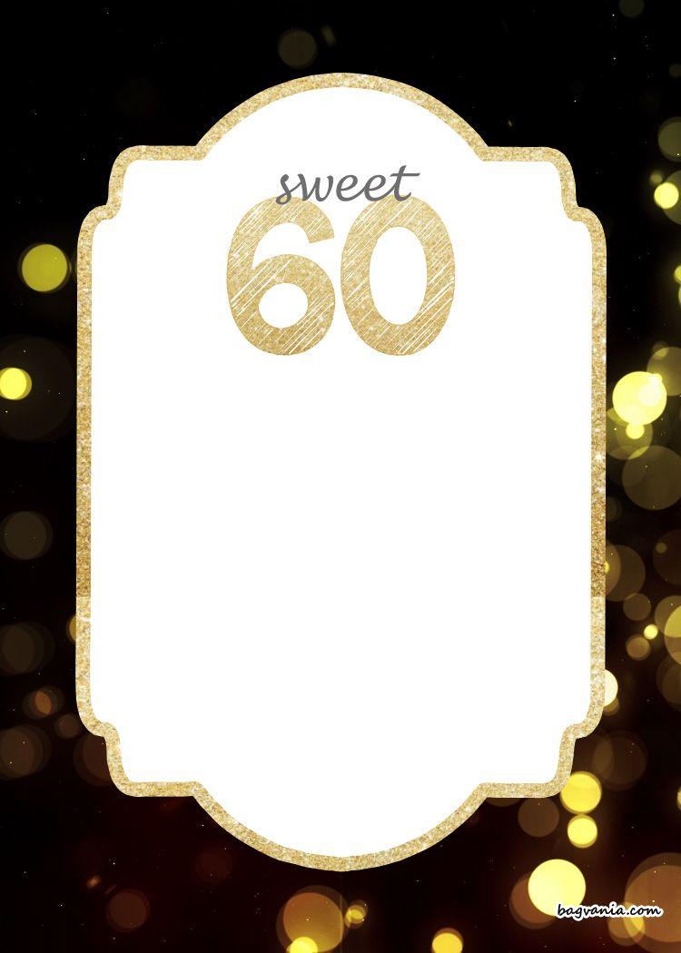 60th Birthday Invitations To Print For Free | Invitationjpg.com