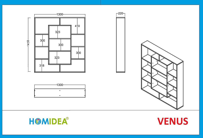 Photo of HOMIDEA Venus Bookshelf – Bookshelf – Scaffale per ufficio / soggiorno dal design moderno (bianco / arancione)
