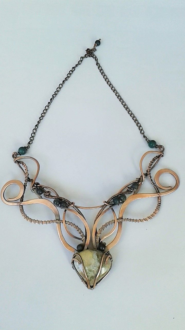Wood fairy copper wire wrapped necklace with Ocean Jasper stone and ...