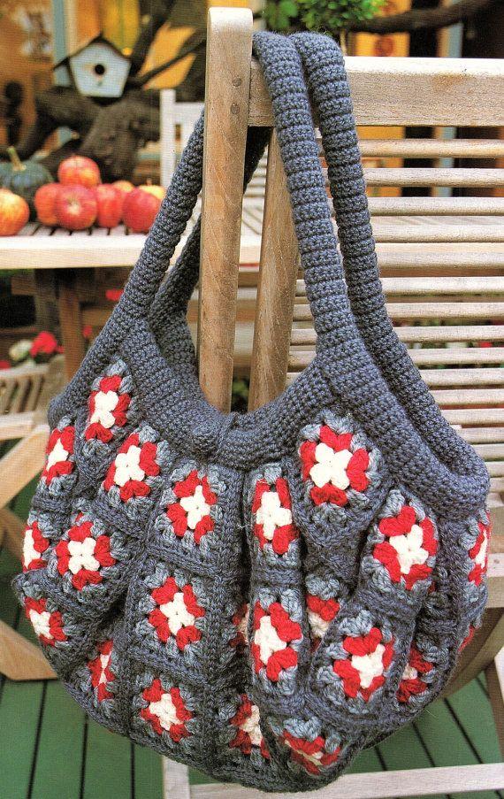 Afghan Bag Granny Square Crochet Pattern. PDF Instant | tejido ...