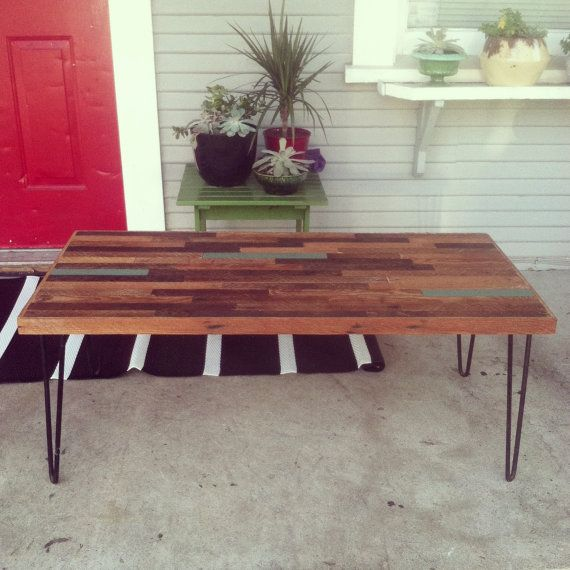 Reclaimed Wood Coffee Table Legs: Reclaimed Coffee Table On Hairpin Legs