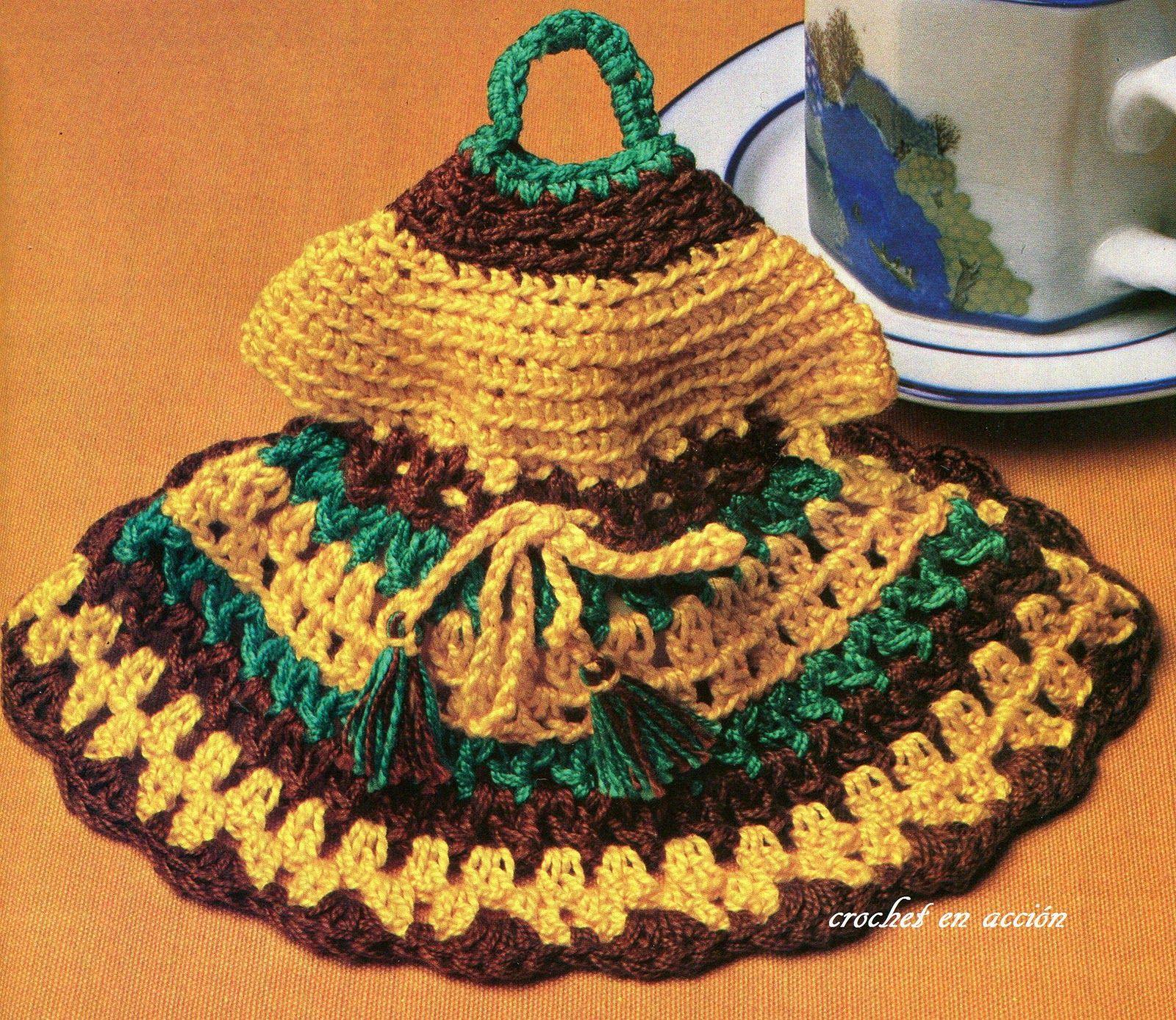 Crochet En Accin Retro Agarraderas Retro Vintage Potholders