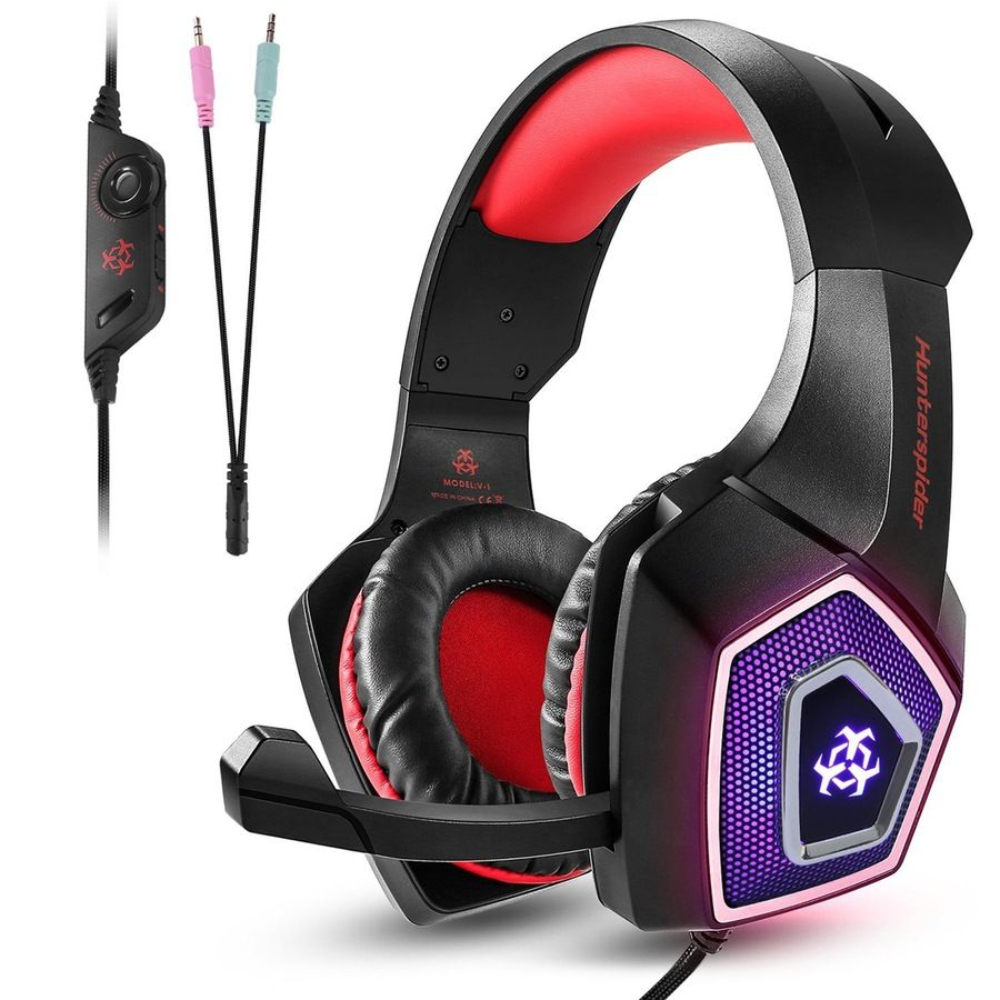 V1 Gaming Headset Red Gaming Headset Gaming Headphones Ps4 Headset