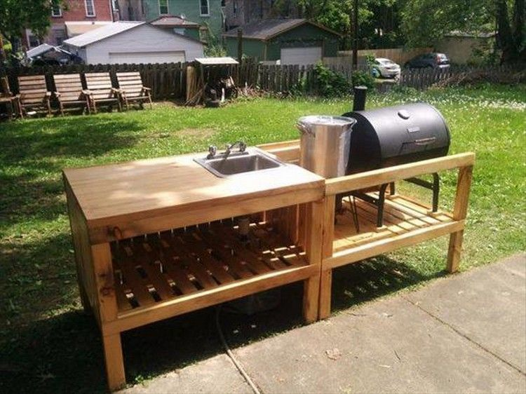 Recycled Pallet Wood Outdoor Kitchen Backyard Kitchen Outdoor Kitchen Countertops Pallet Garden Furniture