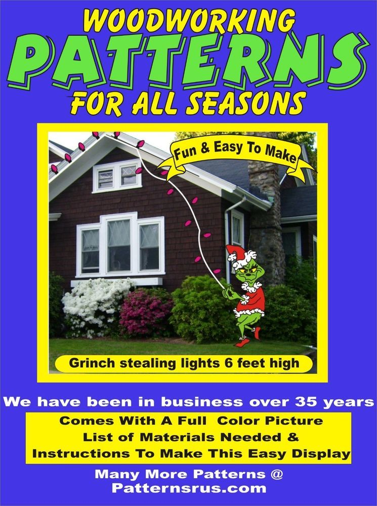 GRINCH STEALING LIGHTS CHRISTMAS YARD ART PATTERN WOOD WORKING New Grinch Wood Patterns