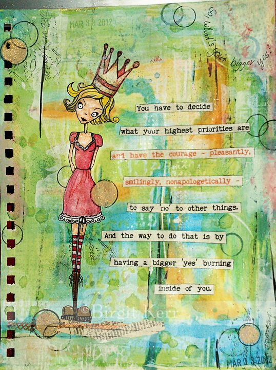 Art Journaling Page I love her eyes and crown.