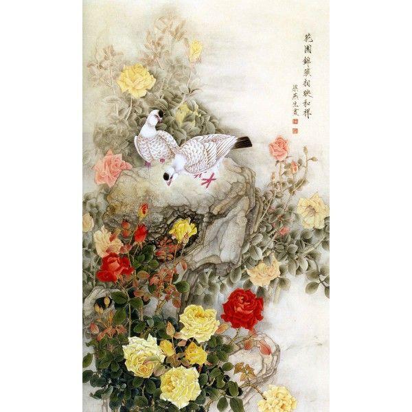 papier peint d\u0027artiste chinois peinture à l\u0027encre les oiseaux et les