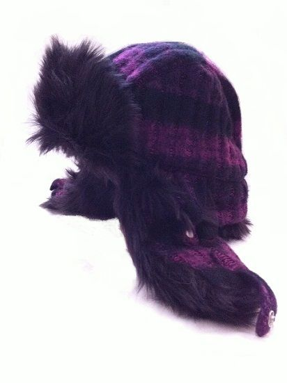 Knit Trapper Hat With Faux Fur Trim bc8e01aa1b9