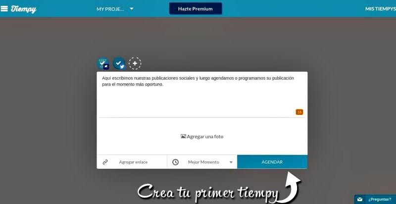 Tiempy es una nueva plataforma para programar el envío de publicaciones sociales a Facebook, Twitter y LinkedIn. Pronto también a Pinterest y Google+.